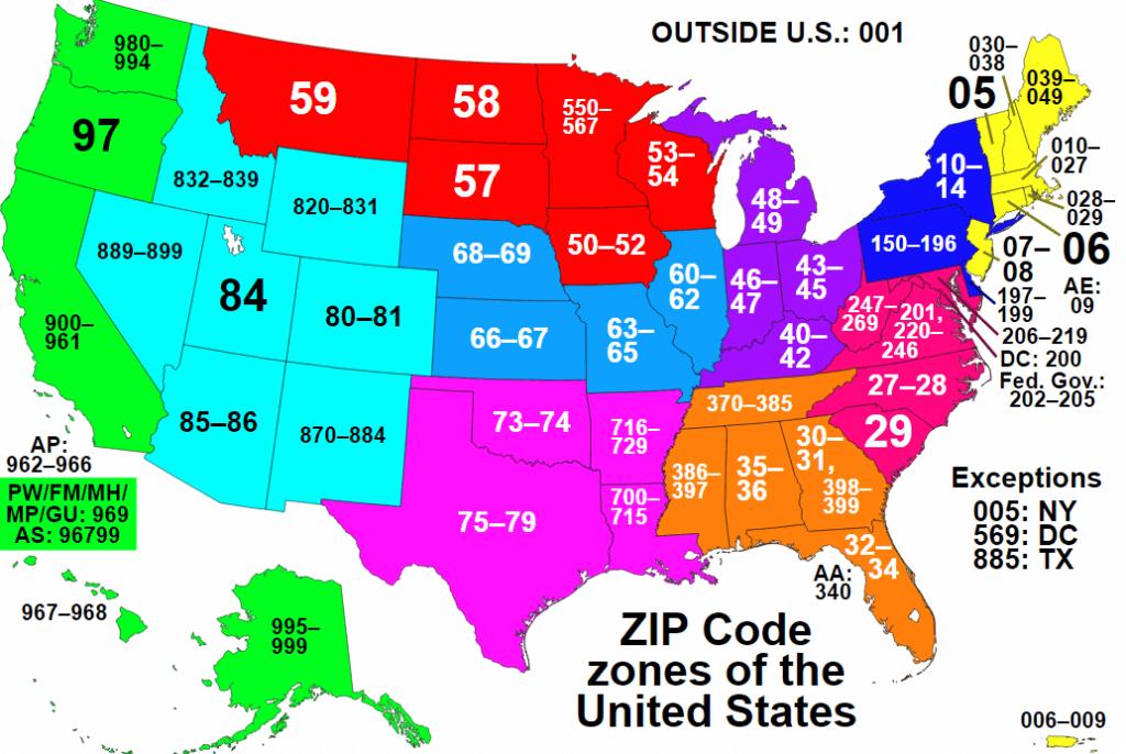 Kart over USA med ZIP koder