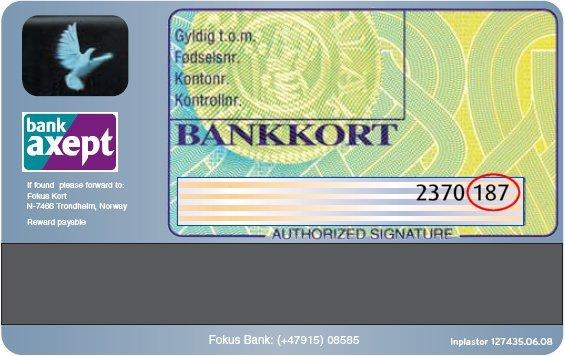 CSV kode illustrasjon på bankkort
