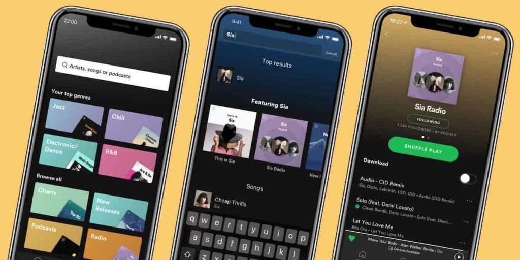 Spotify på mobiltelefon mockup