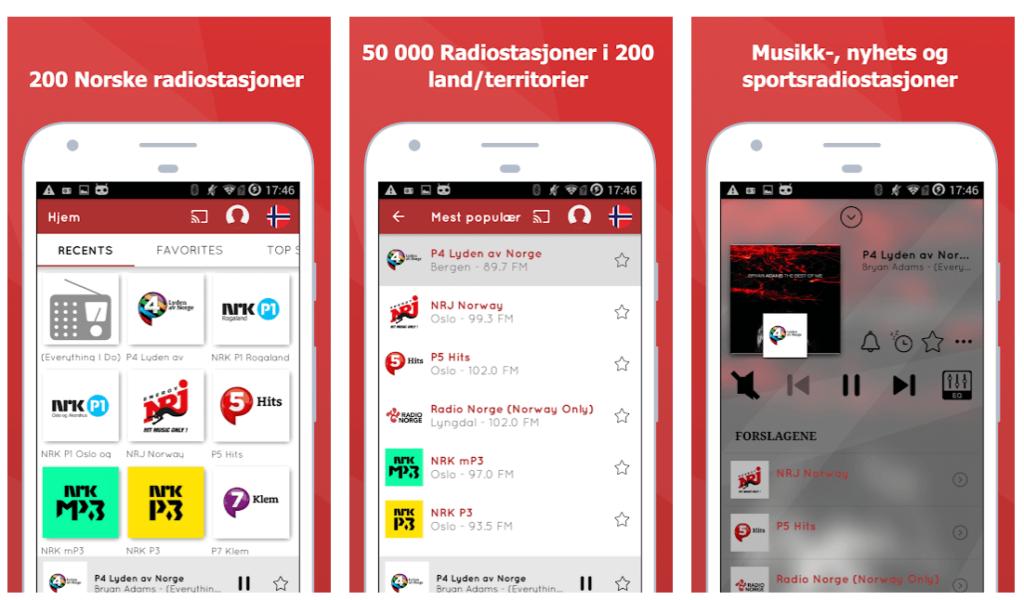 Skjermbilder fra MyTuner Radio appen