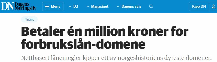 Skjermbilde fra Dagens Næringsliv artikkel: Betalte en million kroner for domene