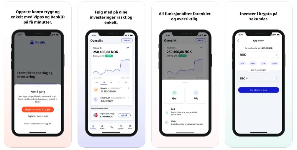 Miraiex App skjermbilder